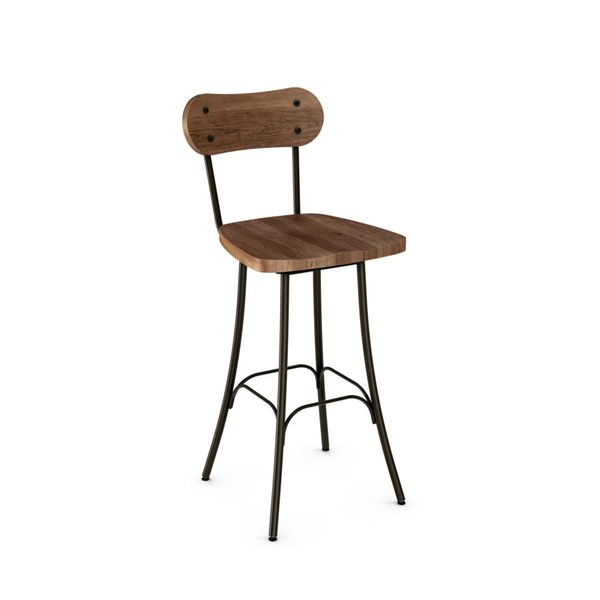 Bean Swivel Stools (Distressed Solid Wood Seat And Backrest) AMC-41268-BS-VAR1