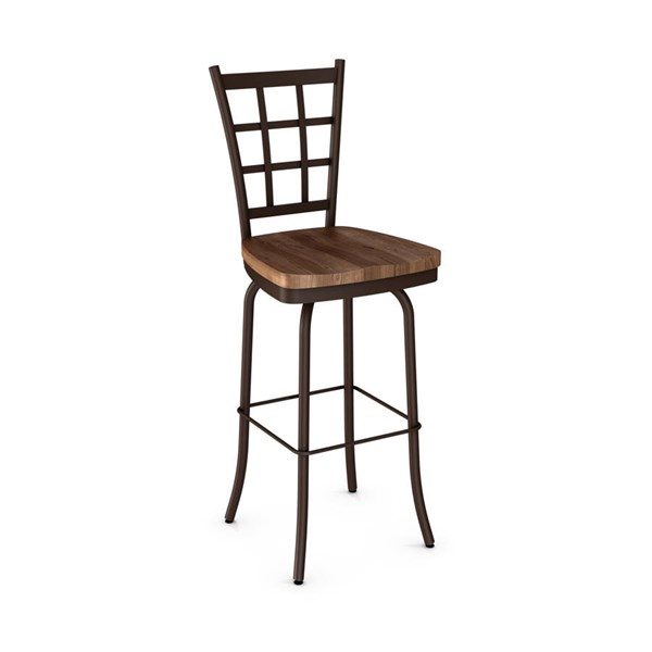 Jamie Swivel 34 Inch Stool (Distressed Solid Wood Seat) AMC-41469-34-MW