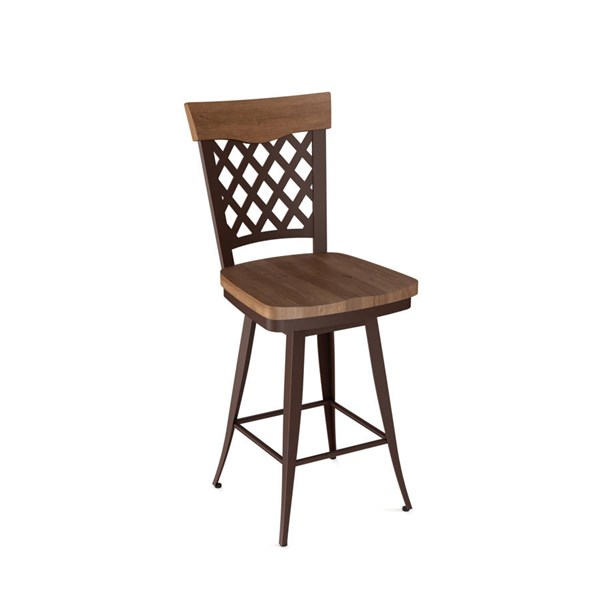 Wicker Swivel 26 Inch Stool (Solid Wood Accent) AMC-41515-26-MW