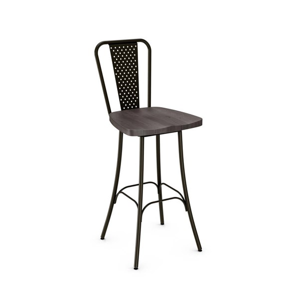 Workshop Swivel Stools (Distressed Solid Wood Seat) AMC-41566-BS-VAR1