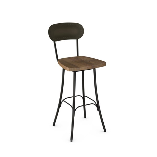 Bean Swivel 26 Inch Stool Distressed Solid Wood Seat