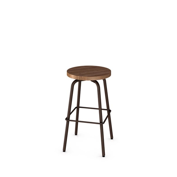 Button Swivel 26 Inch Stool (Distressed Solid Wood Seat) AMC-42460-26-MW