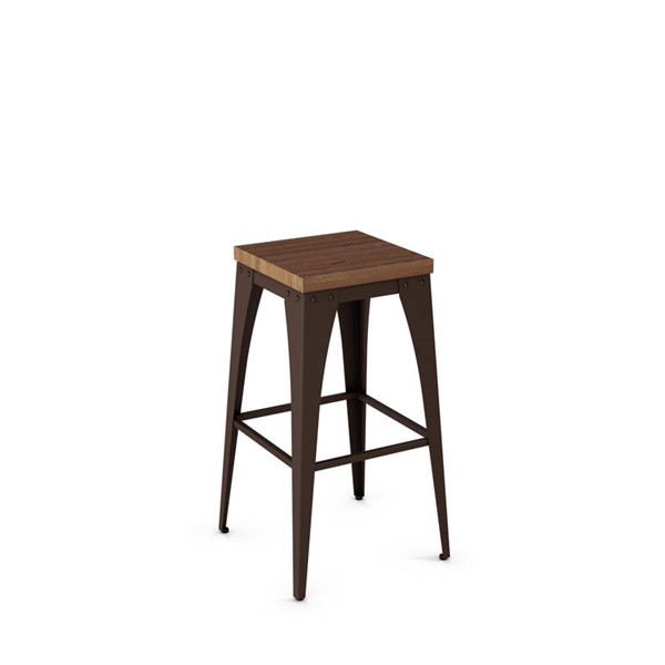 Upright Non Swivel Stools (Distressed Solid Wood Seat) AMC-42564-BS-VAR1
