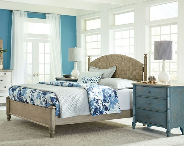American Drew Litchfield Sun Washed Driftwood Denim 2pc Bedroom Set with King Low Post Bed AMDRW-750-BR-S11