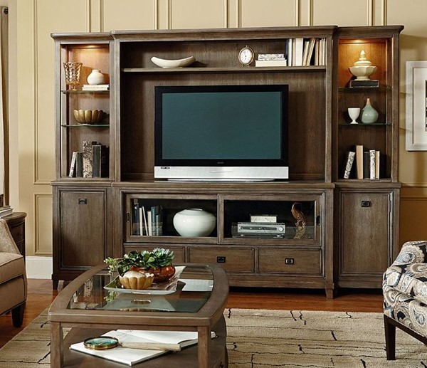 American Drew Park Studio Weathered Taupe Gray Wash Entertainment Center with Console AMDRW-488-585R