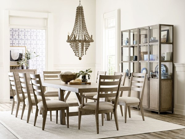 American Drew West Fork Aged Taupe 9pc Dining Room Set AMDRW-924-DR-S4