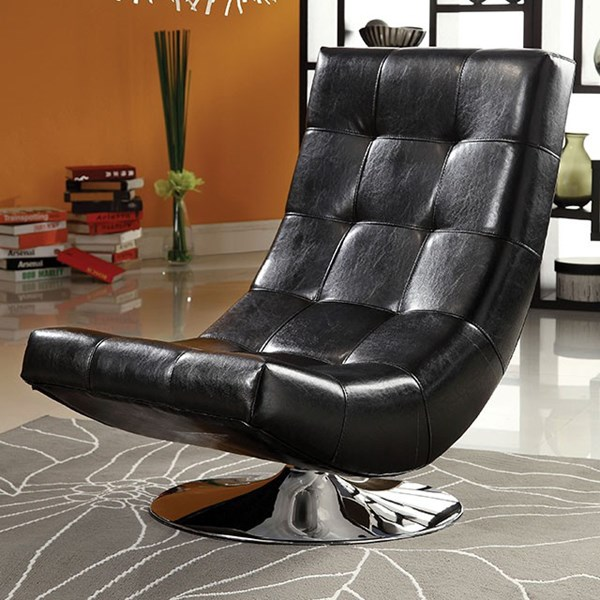 Furniture of America Trinidad Black Swivel Chair FOA-CM-AC6912BK