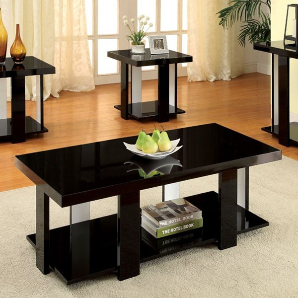 Lakoti I Contemporary Black White Solid Wood Veneer Coffee Table Set Occasional Tables The