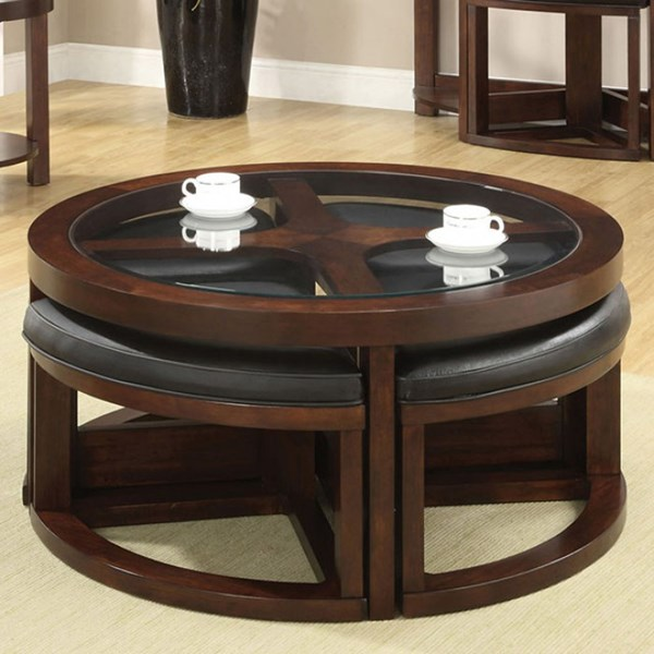 Furniture of america crystal cove ii round coffee table for Round cocktail table with stools
