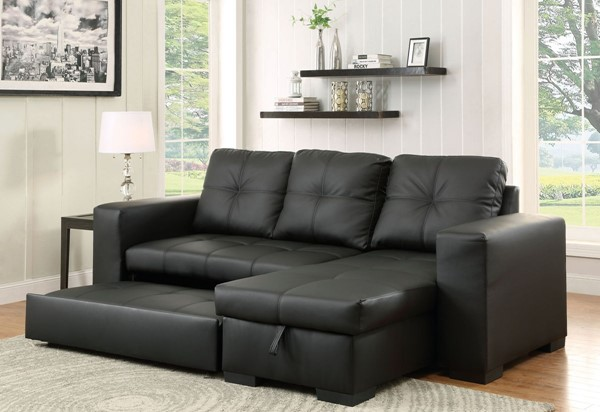 Furniture of America Denton Bonded Leather Sectional FOA-CM6149BK-LTR-SET