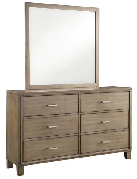 Furniture of America Enrico I Gray Dresser and Mirror FOA-CM7068GY-DRMR