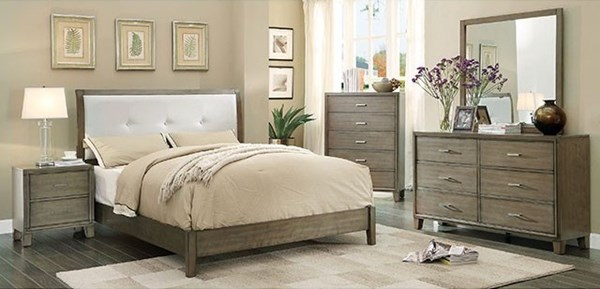 Enrico I Gray White Leatherette Solid Wood Master Bedroom Set FOA-CM7068GY-BR