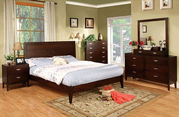 Crystal Lake Brown Cherry Solid Wood Master Bedroom Set FOA-CM7910-BR
