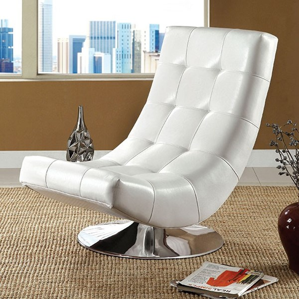 Furniture of America Trinidad White Swivel Chair | The ...