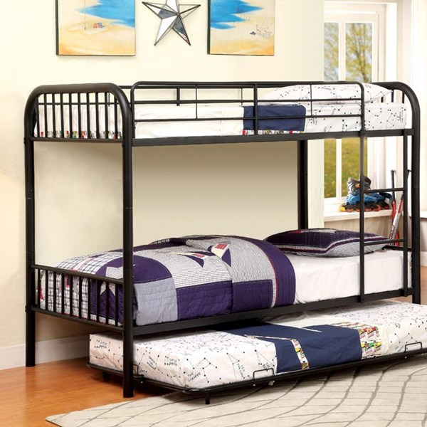 Furniture of America Rainbow Black Twin Over Twin Trundle Bunk Bed FOA-CM-BK1035BK-TR-BED