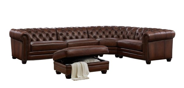 Hydeline Madison Tobacco Sectional and Ottoman Set AMX-Madison-SECT