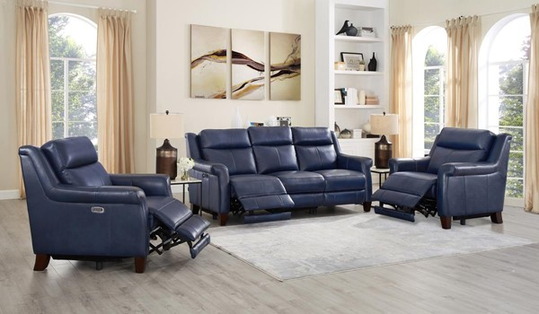 Hydeline Navona Blue Power Reclining 3pc Living Room Set with 2 Recliners AMX-Navona-SCC
