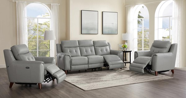 Hydeline Torino Silver Gray Power Reclining 3pc Living Room Set With 2 Recliners AMX-Torino-SCC