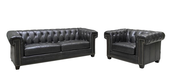 Hydeline Hilton Black Sofa and Chair Set AMX-Hilton-SC