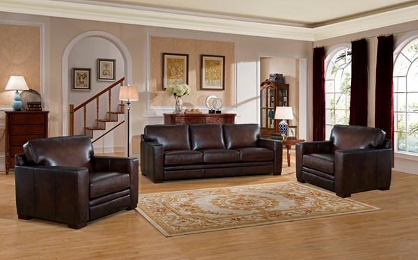 Hydeline Chatsworth Brown Sofa And Two Chairs Set AMX-Chatsworth-SCC