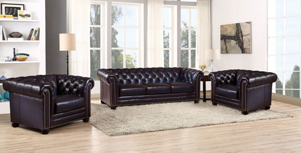 Hydeline Dynasty Navy Blue Sofa and Two Chair Set AMX-Dynasty-SCC