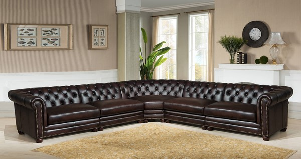 Amax Leather Kennedy Brown 5pc Sectional AMX-Kennedy-5-SECT