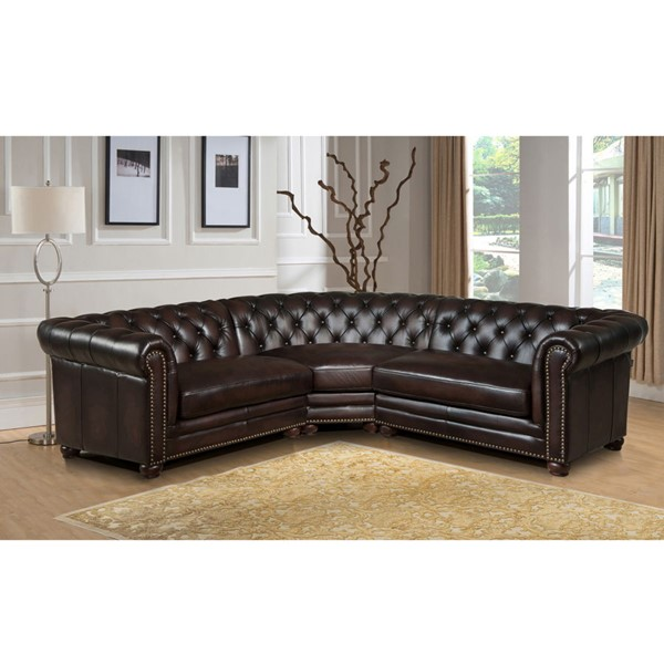 Amax Leather Kennedy Brown 3pc Sectional AMX-Kennedy-3-SECT