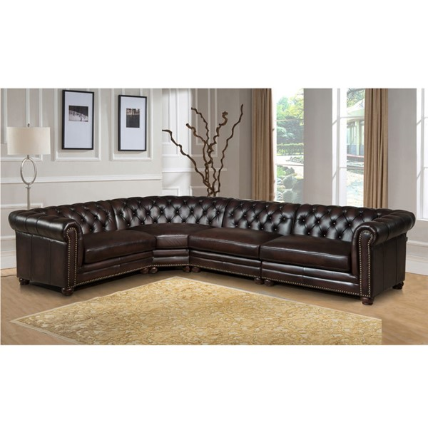 Amax Leather Kennedy Brown 4pc Sectional AMX-Kennedy-4-SECT