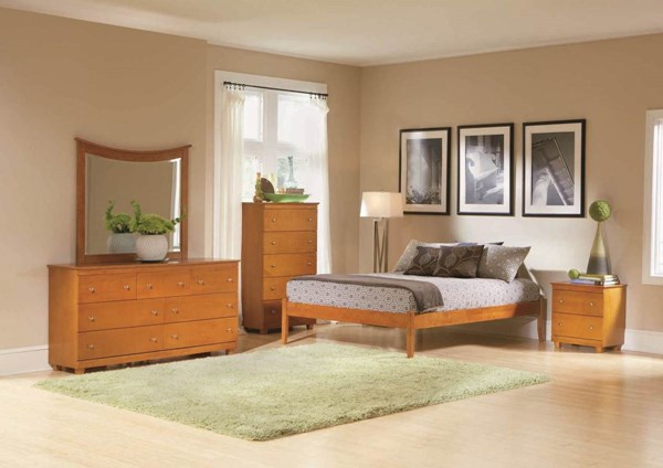 Concord Natural Maple Solid Wood Queen Bed W/Open Foot Rail AP8141005