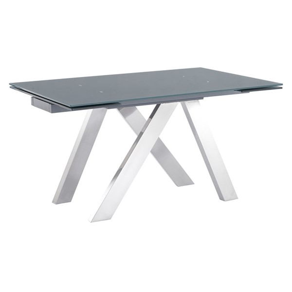 Armen Living Ace Grey Tempered Glass Extension Dining Table ARM-LCACDIGR