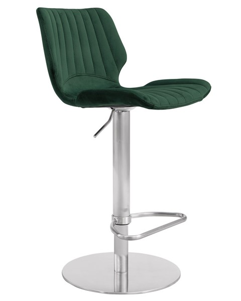 Armen Living Oneida Green Velvet Brushed Stainless Steel Adjustable Bar Stool ARM-LCAKSWBAGRN