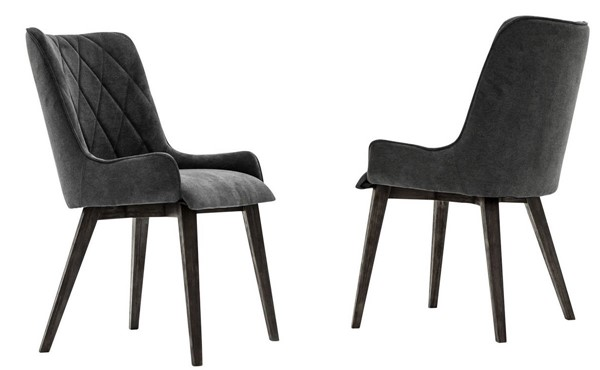 2 Armen Living Alana Tundra Grey Charcoal Upholstered Dining Chairs ARM-LCALCHTGCH