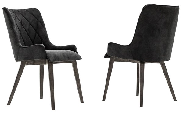 2 Armen Living Alana Tundra Grey Midnight Upholstered Dining Chairs ARM-LCALCHTGMN