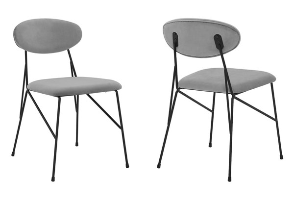 2 Armen Living Alice Gray Velvet Metal Dining Chairs ARM-LCALSIBLGR