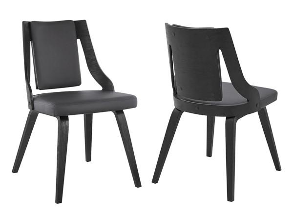 2 Armen Living Aniston Gray Faux Leather Black Wood Dining Chairs ARM-LCANSIBLGR