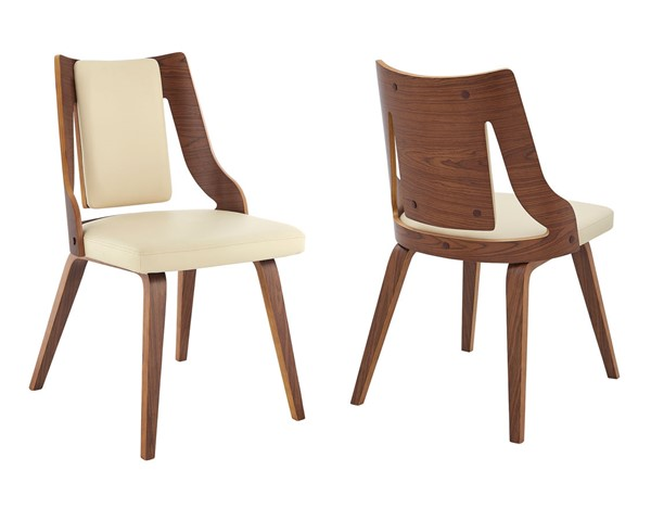 2 Armen Living Aniston Cream Faux Leather Walnut Wood Dining Chairs ARM-LCANSIWACR