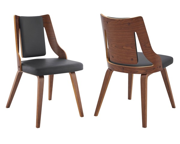 2 Armen Living Aniston Gray Faux Leather Walnut Wood Dining Chairs ARM-LCANSIWAGR