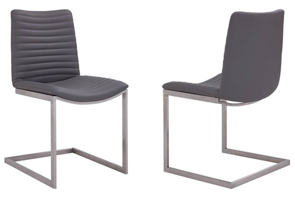 2 Armen Living April Grey Faux Leather Dining Chairs ARM-LCAPSIBSGR