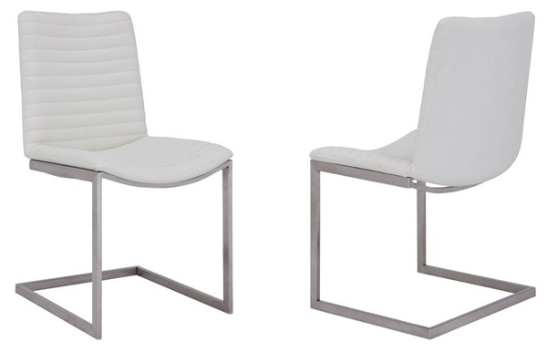 2 Armen Living April White Faux Leather Dining Chairs ARM-LCAPSIBSWH
