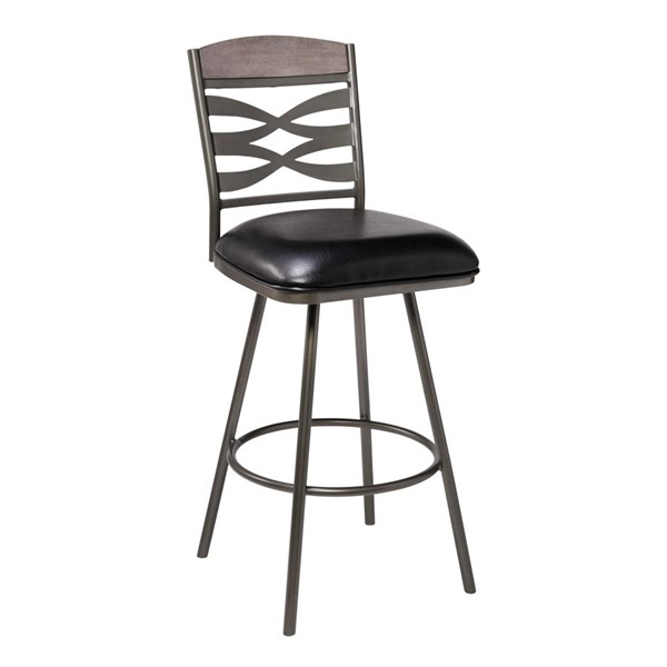 Armen Living Arden Ford Black Faux Leather Counter Height Bar Stool ARM-LCARBAMFBL26
