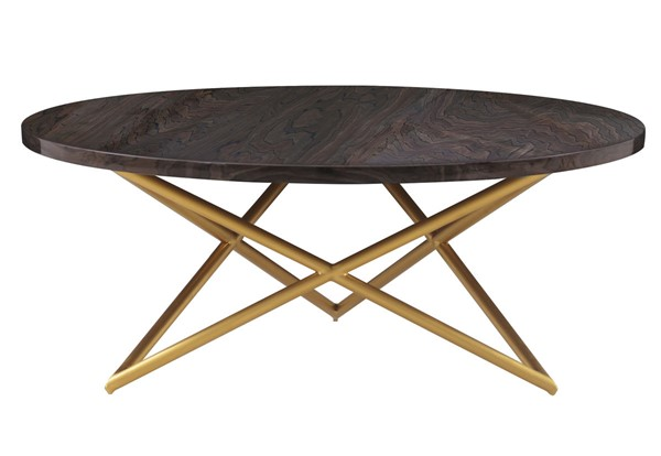 Armen Living Atala Brown Veneer Coffee Table with Brushed Gold Legs ARM-LCATCOBRGLD