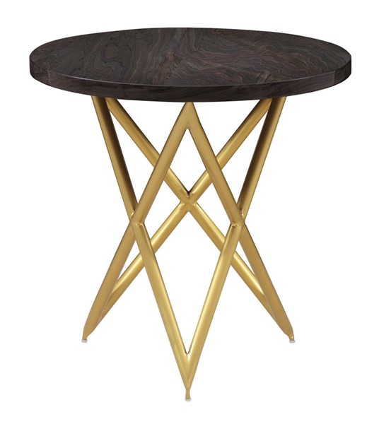 Armen Living Atala Brown Veneer End Table with Brushed Gold Legs ARM-LCATLABRGLD