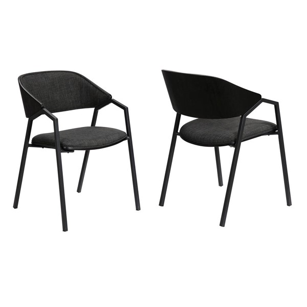 2 Armen Living Austin Black Powder Coated Charcoal Dining Accent Chairs ARM-LCAUSIBLCH
