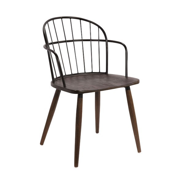 Armen Living Bradley Black Powder Coated Steel Framed Walnut Wood Side Chair ARM-LCBDSIBLWA
