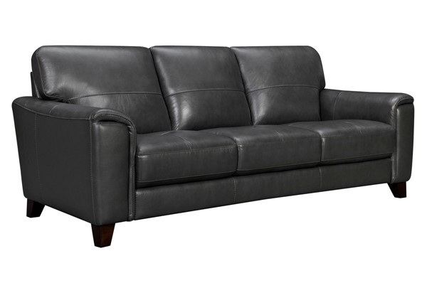 Armen Living Bergen Pewter Leather Square Arm Sofa ARM-LCBE3PW