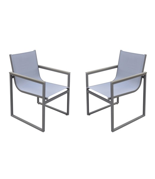 2 Armen Living Bistro Grey Outdoor Patio Dining Chairs ARM-LCBICHGR