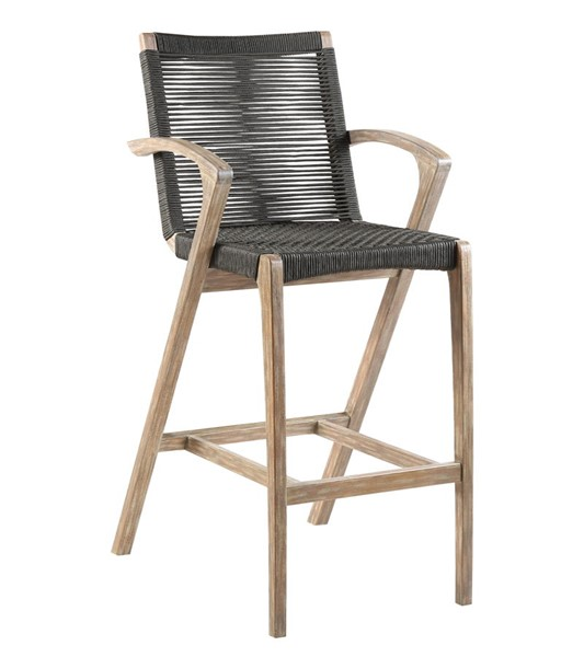 Armen Living Brielle Light Eucalyptus Charcoal Rope 26 Inch Outdoor Counter Height Stool ARM-LCBLBACH26