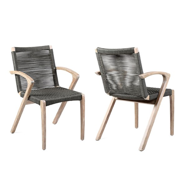 2 Armen Living Brielle Charcoal Rope Outdoor Patio Arm Chairs ARM-LCBLSICH
