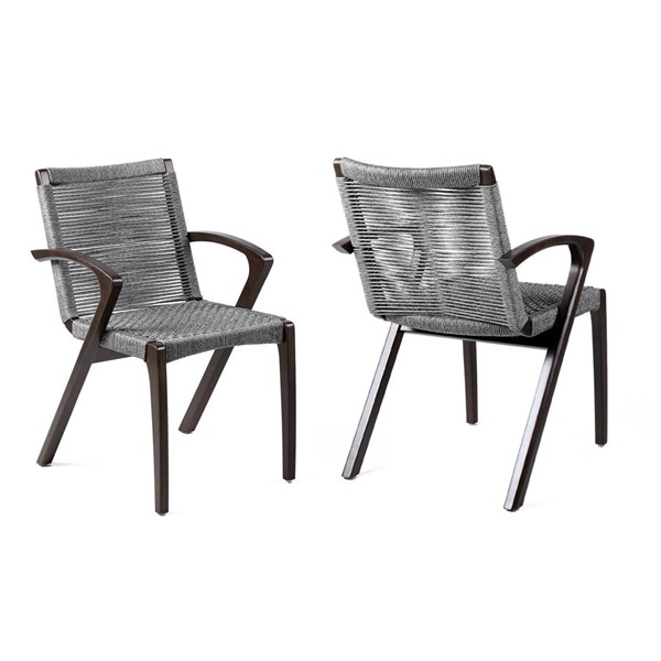 2 Armen Living Brielle Grey Rope Outdoor Patio Arm Chairs ARM-LCBLSIGR
