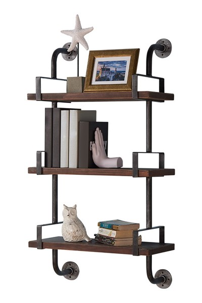 Armen Living Booker Gray Walnut 40 Inch Wall Shelf ARM-LCBOSH40